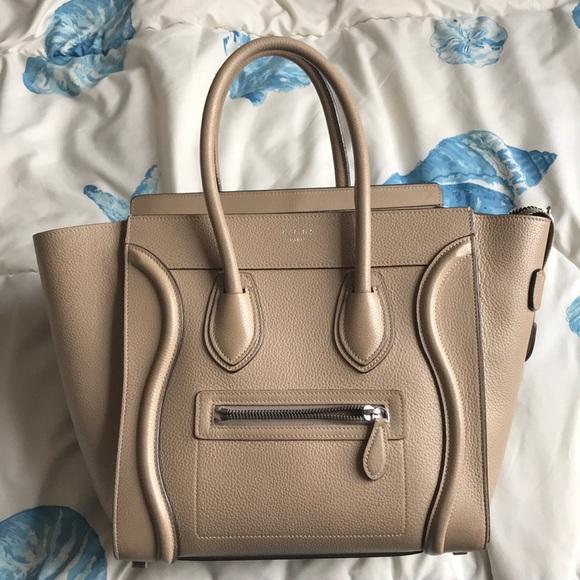 c42714aa7d16 Celine Handbags - CELINE MICRO luggage tote drummed DUNE TAUPE 😍
